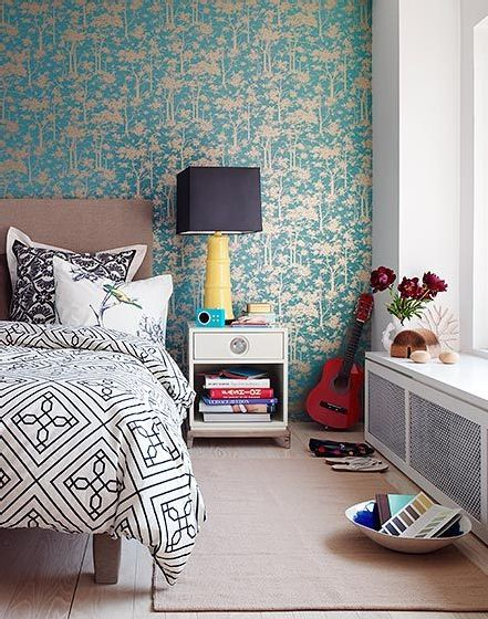 Black white yellow and turquoise bedroom frommark - Black and turquoise bedroom ...