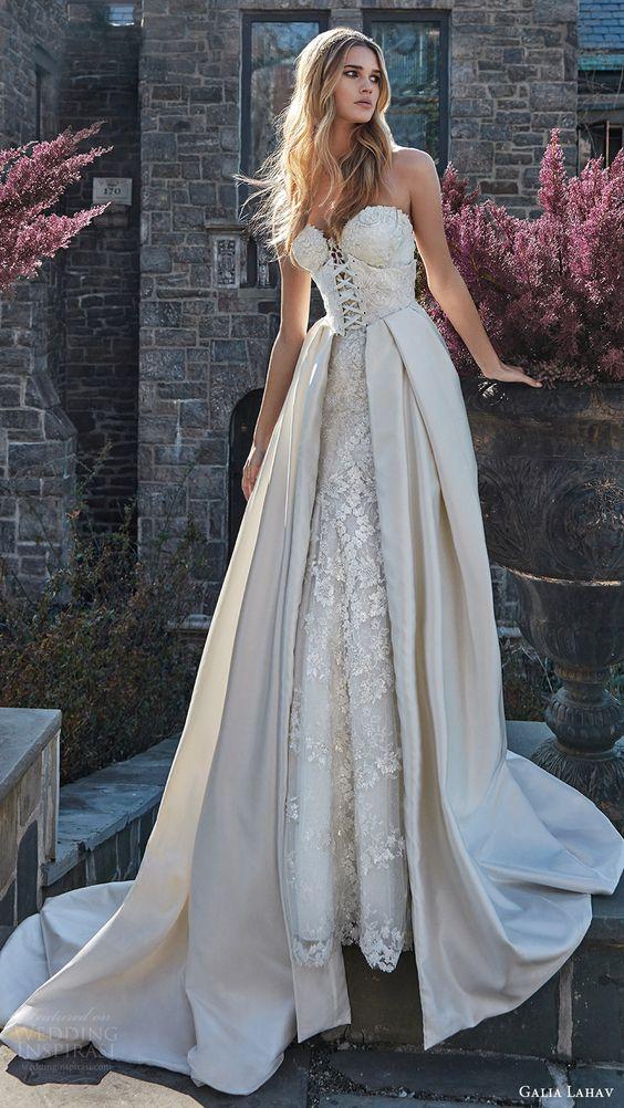 galia lahav bridal spring 2017 strapless sweetheart corset bodice aline wedding dress ( guerlain) mv overskirt