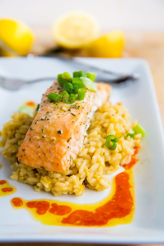 Slow Baked Salmon served with Lemon Risotto & Chili Oil. The best way ...