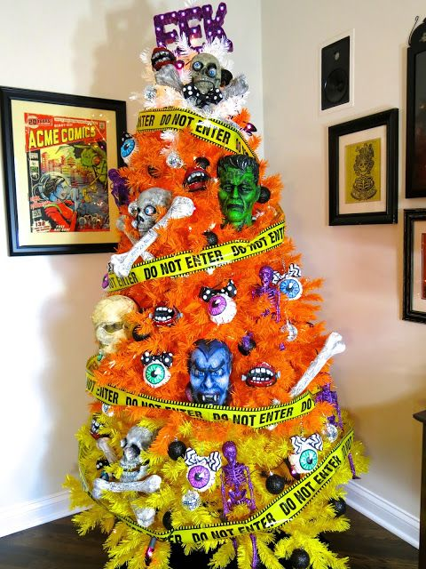 Candy Corn Tree Turned Into A Monster Mash Halloween Tree Halloween Tree Decorations Diy Halloween Decorations Halloween Christmas Tree
