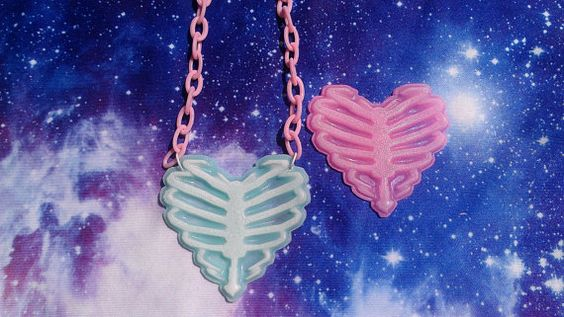 Pastel Goth Zombie Ribcage Heart Necklace, Fairy Kei, Lolita, Soft Grunge on Etsy, $11.44 CAD