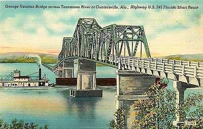 Guntersville Alabama AL 1940s George Houston Bridge Tennessee River Postcard