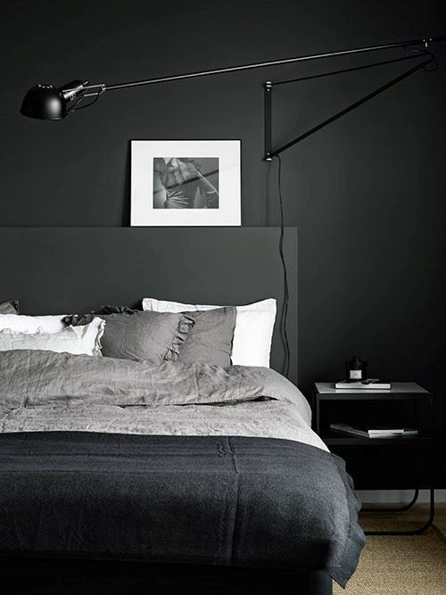 #blackwalls #blackinterior #bedroom