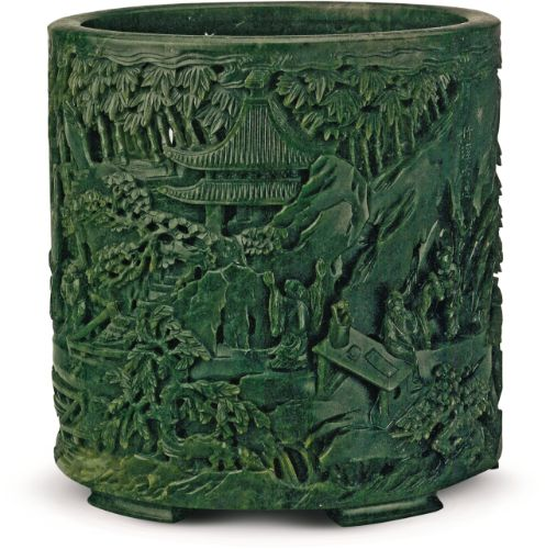 Jade brush pot carved with the Six Recluses of Zhuxi © Collection of the Palace Museum, Beijing