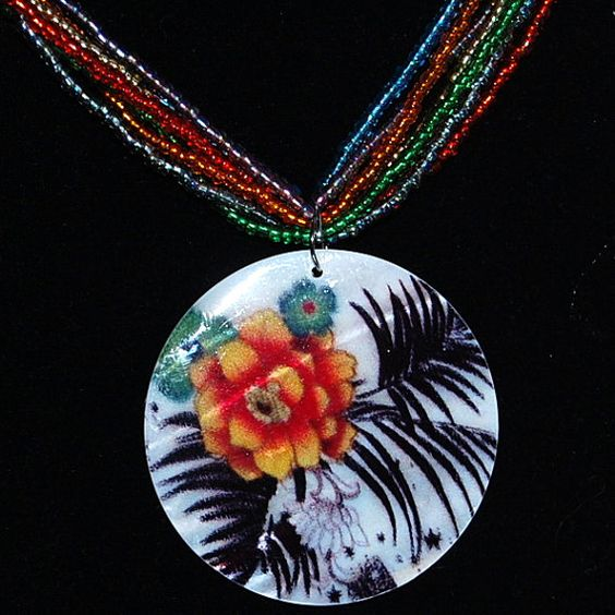 Tropical colors pendant shell pendant multi stranded by daffydills, $30.00