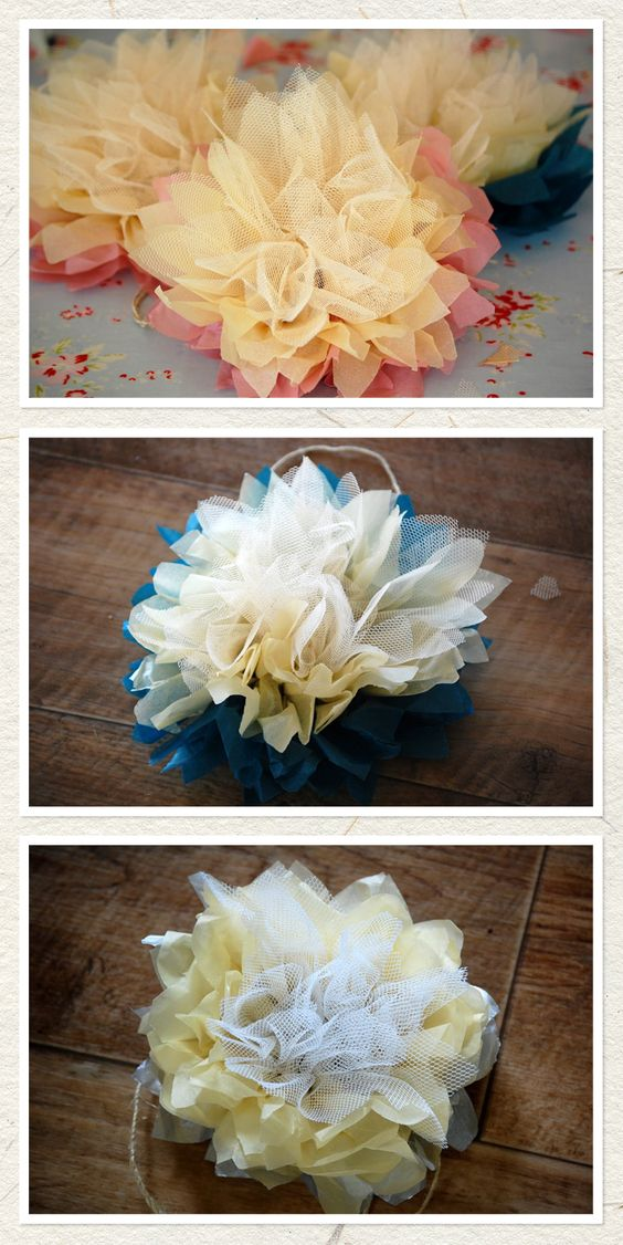 tissue paper and tulle flowers