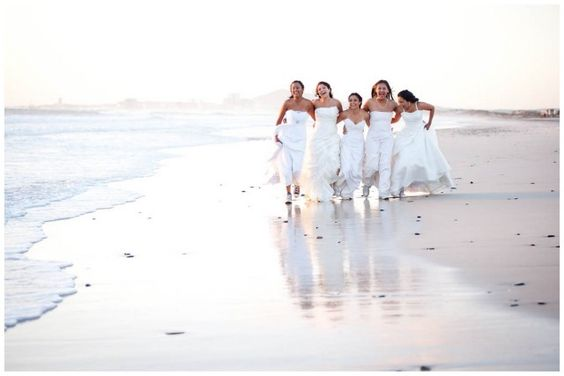Five friends made a decision that once the last of the group get married, they would all get back into their dresses one last time & do a photo shoot. - Love this idea!!