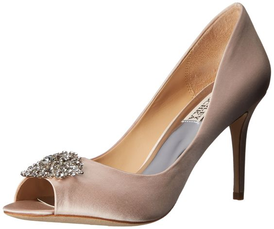 Badgley Mischka Women's Accent Embellished Satin Pump Peep Toe Heel, Light Pink, 6.5 M US. Bridal. Wedding.