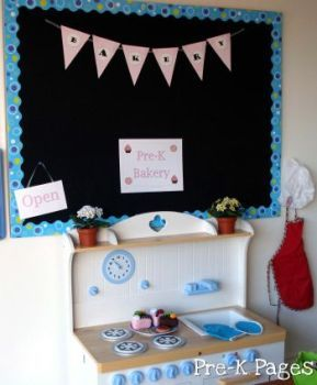 Dramatic play bakery shop for your #preschool or pre-k classroom via www.pre-kpages.com