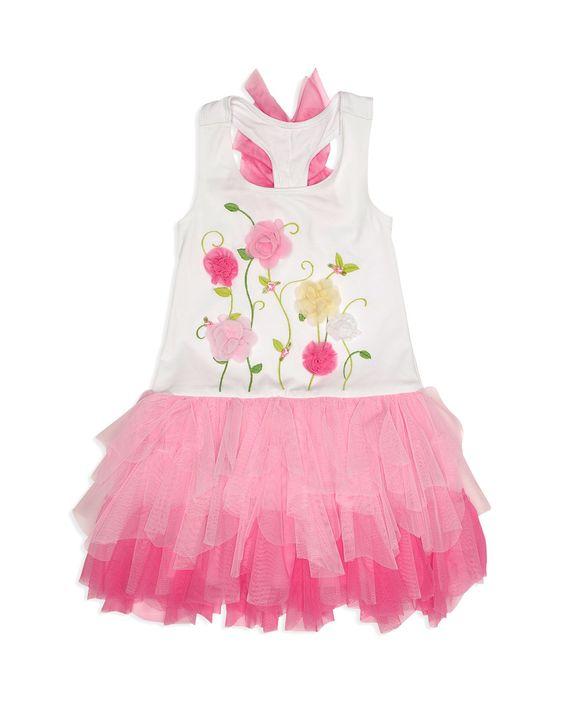 Biscotti Girls' Radiant Rose Bodice Dress - Sizes 2-6X | Bodice: cotton/polyester/spandex; tutu: nylon; tutu lining: polyester | Hand wash | Imported | Fits true to size | Scoop neck, sleeveless, rose