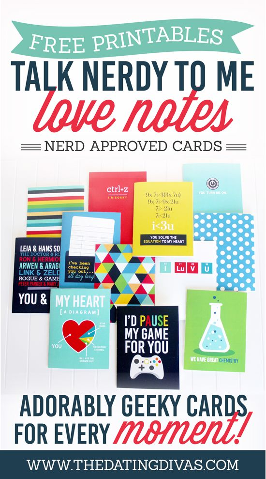 Talk Nerdy To Me Printable Love Notes – Free Valentine Cards for Husband