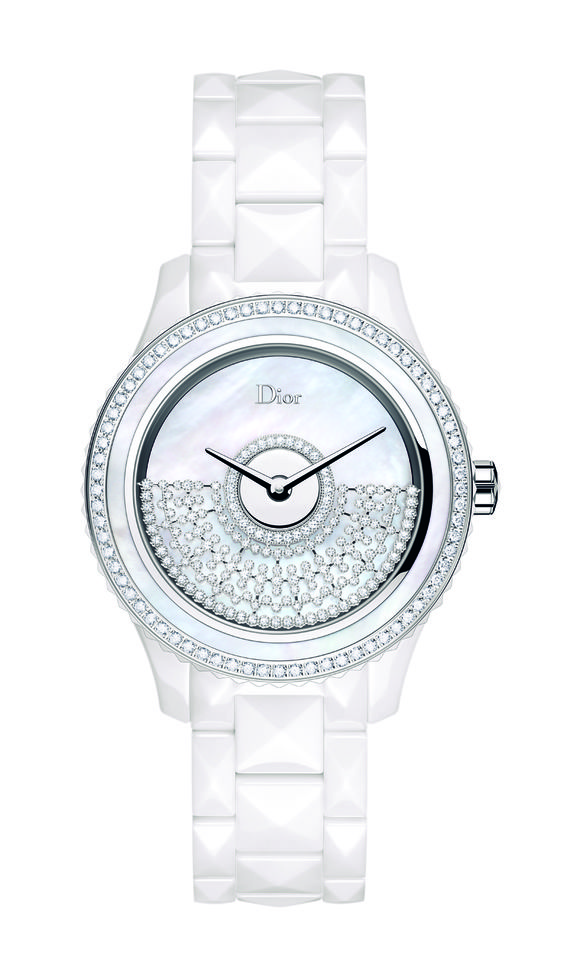 DIOR VIII GRAND BAL.    'Dior Inversé' calibre, oscillating weight in white gold set with diamonds in a lattice work motif, high-tech white and steel ceramic case and bracelet, white mother-of-pearl bezel set with diamonds, white mother-of-pearl dial, anti-reflective sapphire crystal, opalescent case-back.