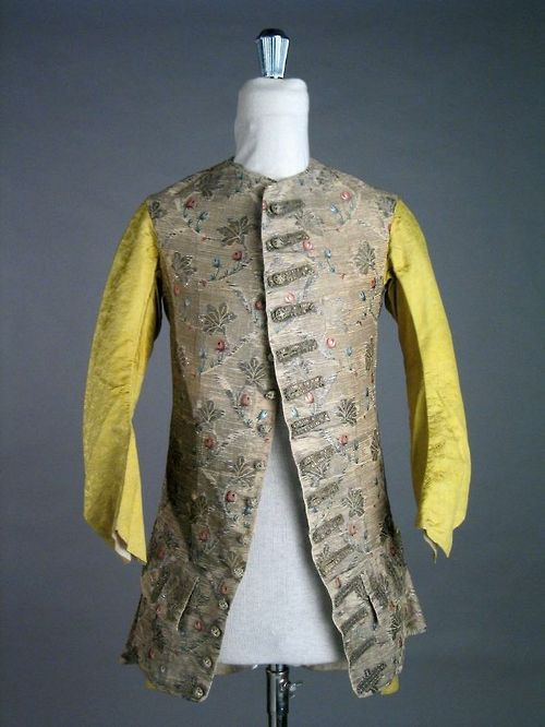 Long-sleeved waistcoat, 1750-1760. Silver silk brocaded with floral motifs Tumblr