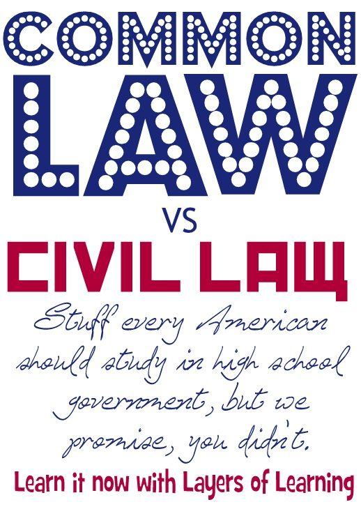 Common Law and Civil Law printable that explains the differences