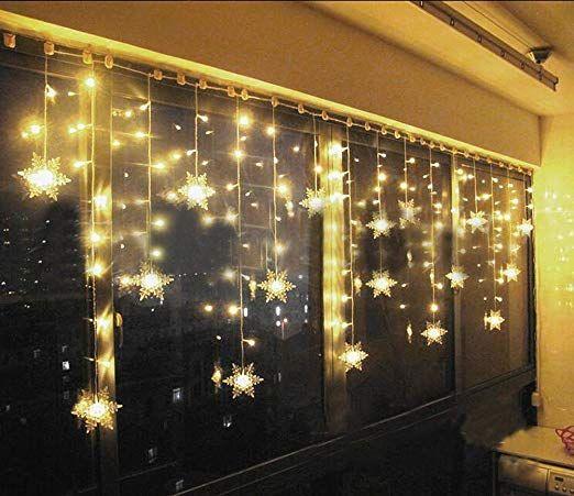 UK Christmas LED Star Lights Curtain Window String Fairy Light Waterproof Decor