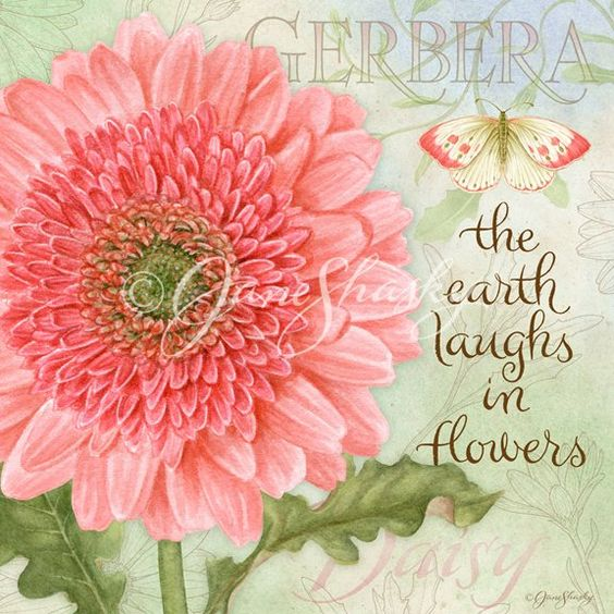 Lang calendar, art by Jane Shasky.  the earth laughs in flowers.... .botancial-gerber: