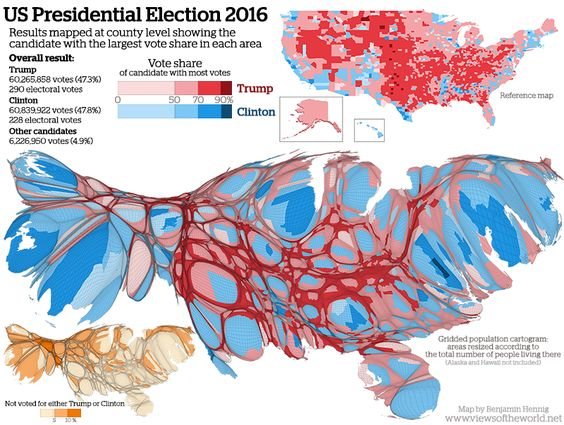 Water Gradient by Voting by County for the US Presidential