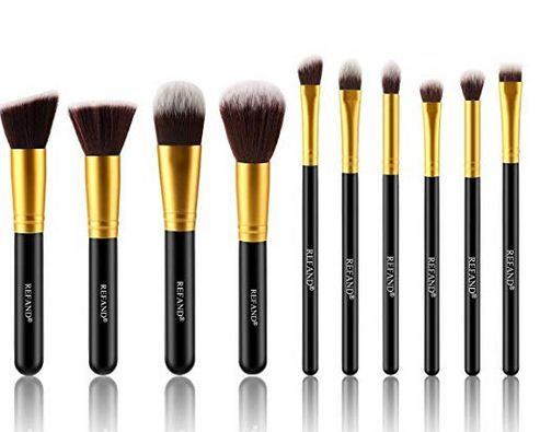 Refand Makeup Brushes Premium Makeup Brush Set Professional Makeup Kit Gold Black 10 Pcs Makeup Natural Makeup Brush Set Makeup Brush Set Professional Makeup Brush Set Best