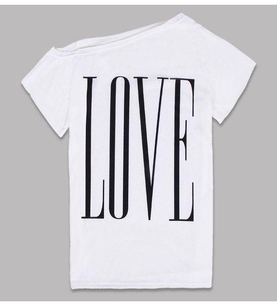 Off One Shoulder Love T Shirt