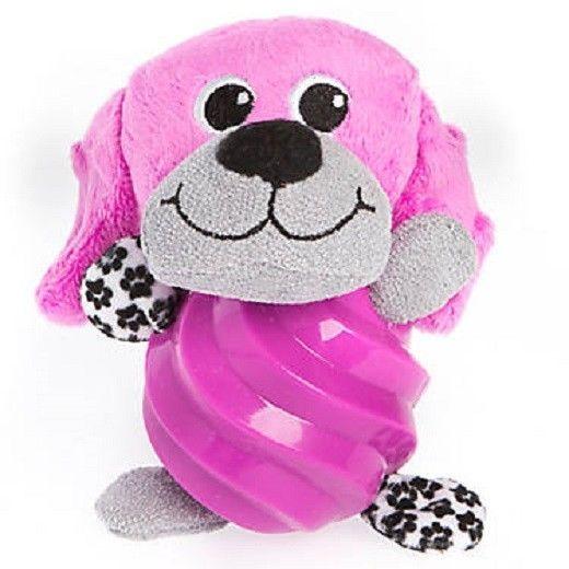 Puppies R Us Dog Toy Squeak Purple Plush Rubber Dog Body Ball Pet