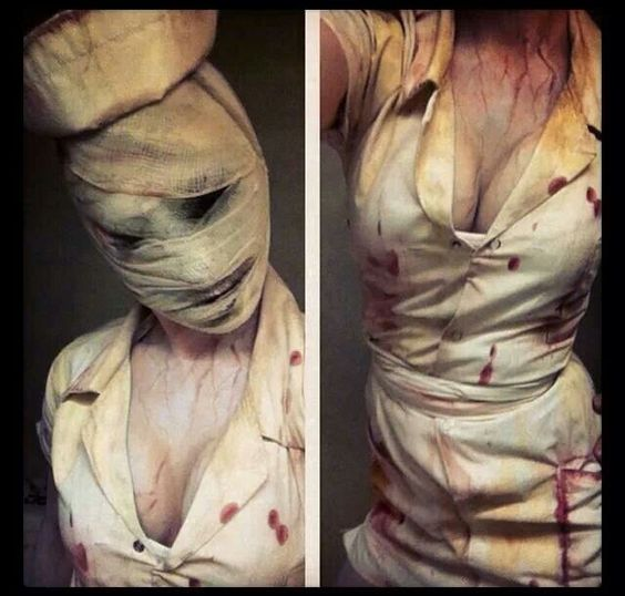 BFF in her Silent Hill nurse costume.