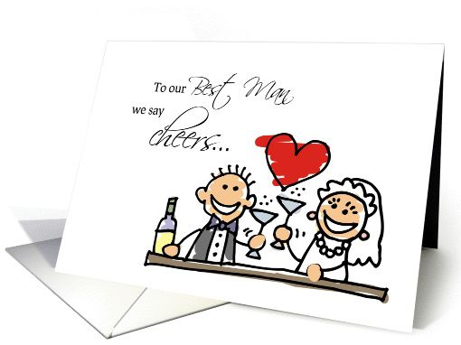 Thank You to Best Man, Stick Figures, Champagne Toast, Wedding card