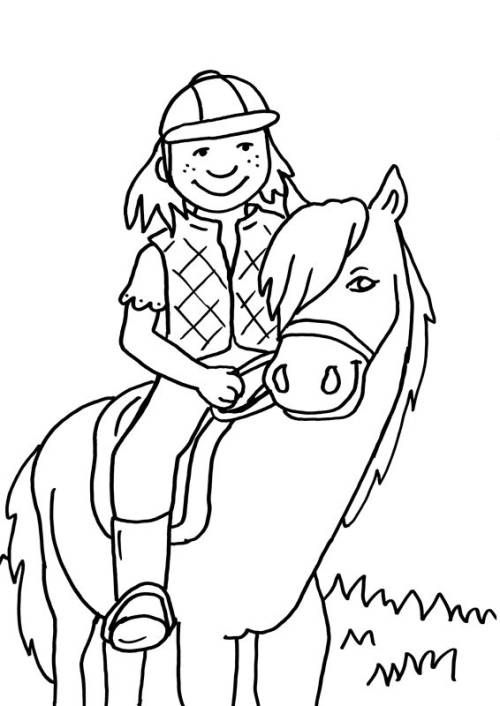 Kostenlose Malvorlage Pferde Kleine Reiterin Zum Ausmalen Zum Ausmalen Malvorlagen Pferde Ausmalbilder Pferde Ausmalen