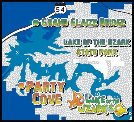 Lake of the Ozarks Party Cove Map  Lake of the Ozark  Pinterest