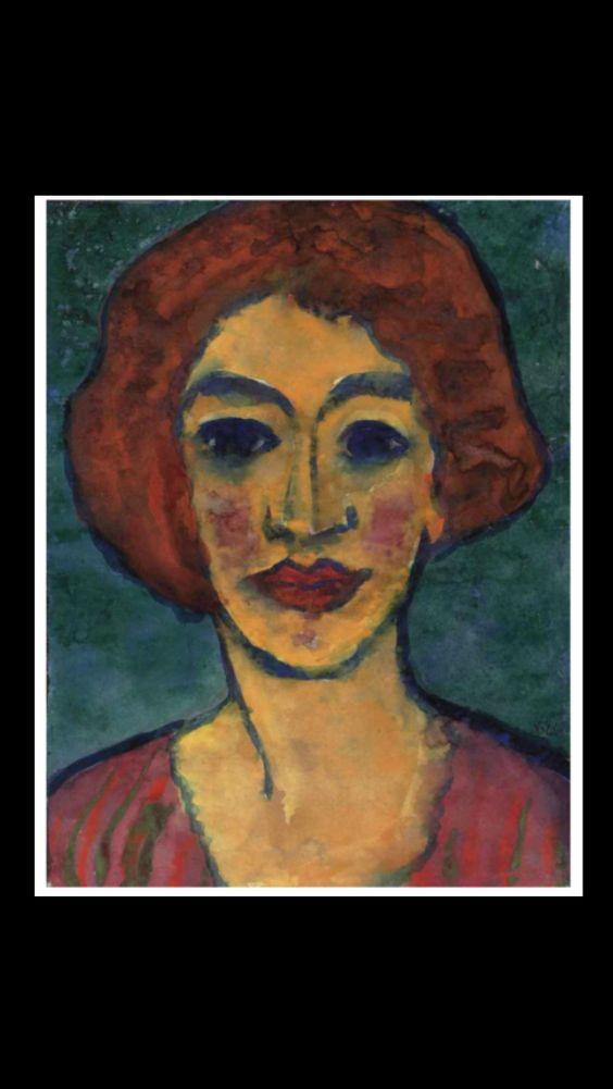 """Emil Nolde - """" Frauenkopf (rotbraunes Haar) """", c. 1920/25 - Watercolour and gouache on Japan paper - 45,3 x 35,6 cm"""