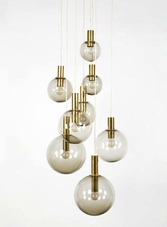 Hans Agne Jakobsson; Brass and Smoked Glass Ceiling Lights, 1960s.: