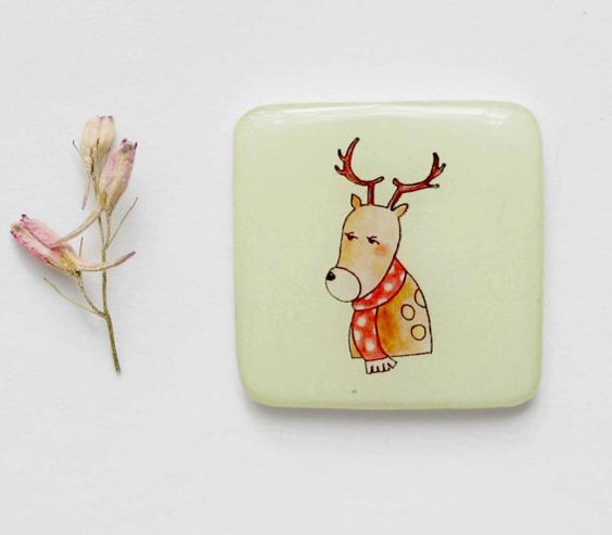 FREE SHIPPING Deer magnet gift Animal fridge by Dinabijushop