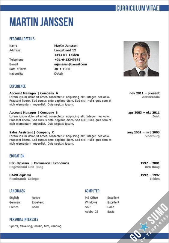 Business Cv Template In Word And Powerpoint + Matching Cover