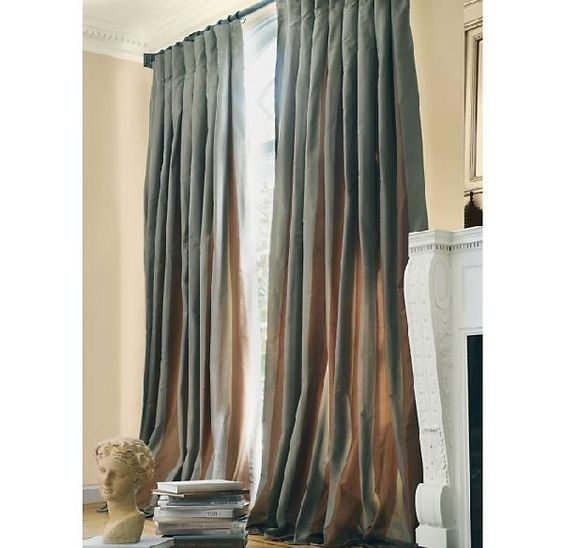 Miscellaneous curtains drapes inverted pleat curtains for Restoration hardware silk curtains