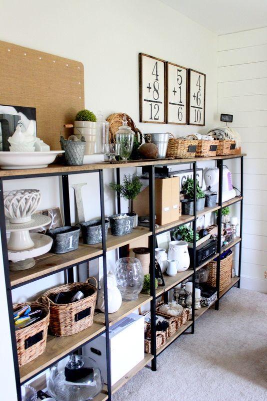 Custom shelves from Proverbsgirl31 using 3 $15 IKEA shelves and $50 worth of lumber...genius :)