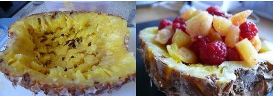 Pour les repas de fêtes, surtout celles de Noël et Jour de l'An, j'aime confectionner un dessert à base de glaces ou de fruits (ou les deux) pour ne pas alourdir les estomacs déjà bien sollicités..... En cette saison, nous avons de très bons ananas (oui...