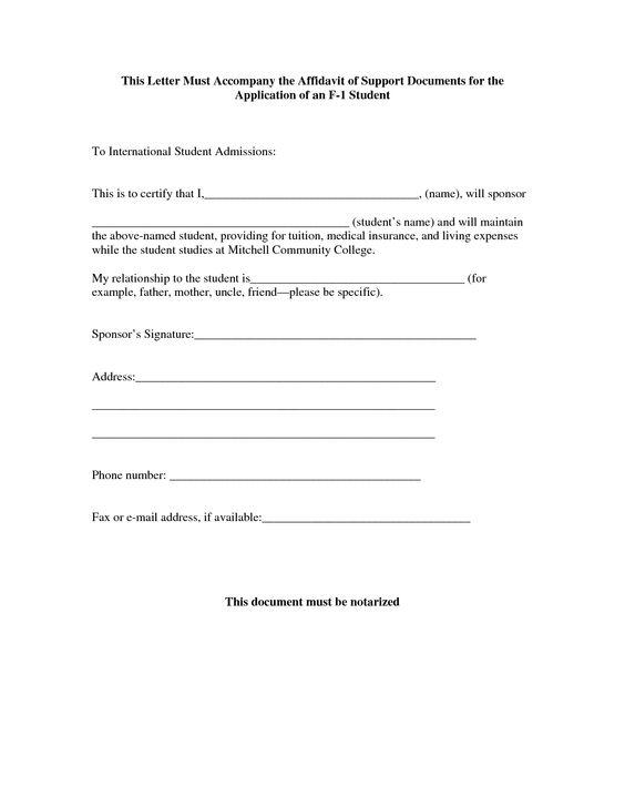 Sample Affidavit Letter Of Support By Zrg  Affidavit Of
