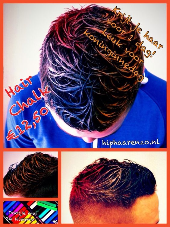 Koningsdag kapsel?? Rood-wit-blauw of oranje haarkrijt doosje met 24 kleuren voor €12,50 hiphaarenzo.nl