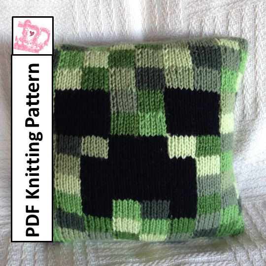 PDF KNITTING PATTERN Minecraft Creeper pillow cover (12