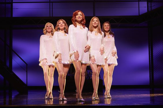 Charlotte Jeffery, Nicola Brazil, Nicky Griffiths, Helen Ternent and Lucinda Gill in JERSEY BOYS credit Brinkhoff & Mögenburg