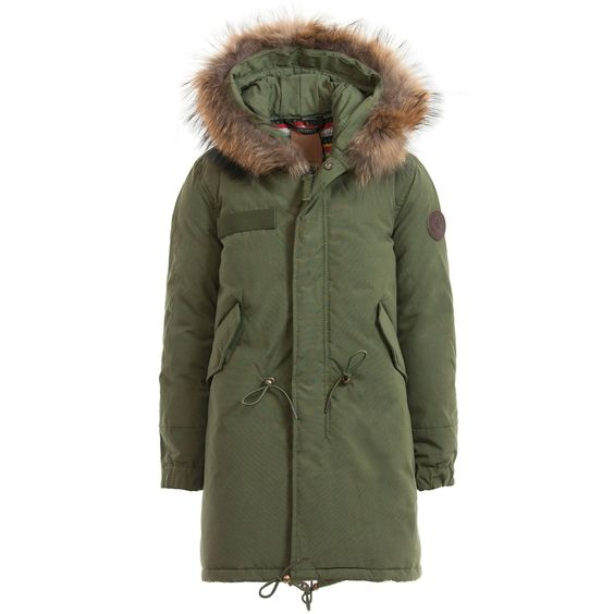 Girls Army Green Parka Coat & Real Fur Hood Airforce Girl
