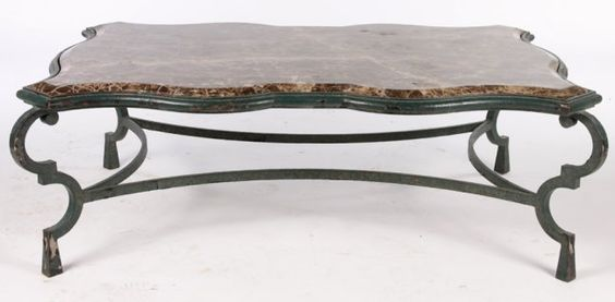Wrought iron coffee table large wrought iron coffee for Marble and wrought iron coffee table