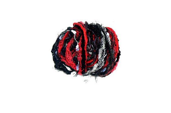 Fiber Art Yarn Bundle Gothic Embellishment Yarn  by CrochetRagRug