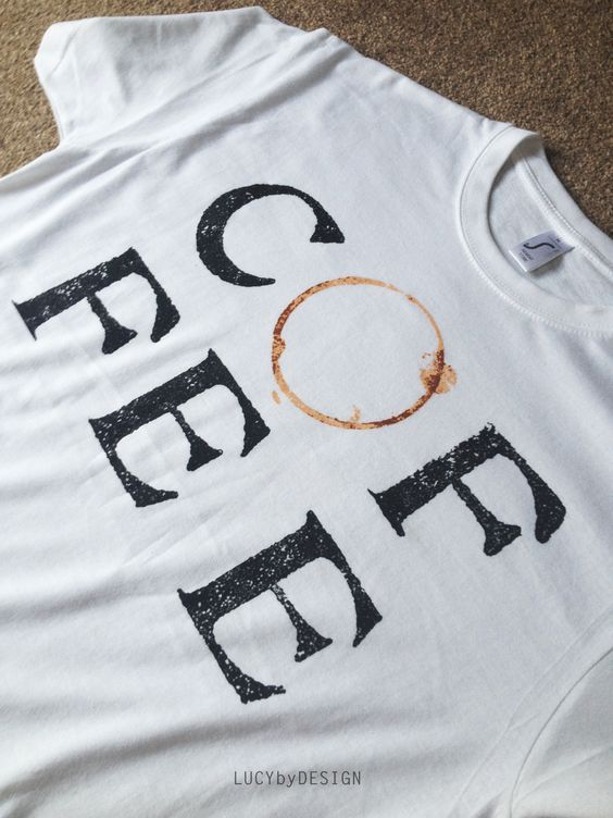 Ive made these screen printed t-shirts with a coffee stamp design I made, theyre up for sale on my Big Cartel - LucybyDesign