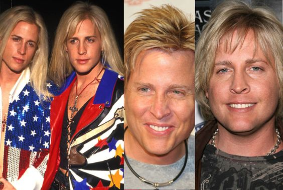 Matthew and Gunnar Nelson, twin sons of Ricky Nelson, early in their careers as singers and now