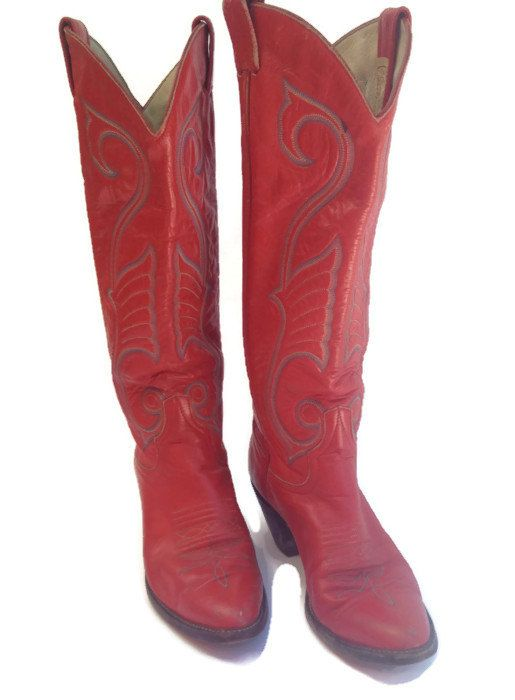 Vintage Larry Mahan, Western Tall Red Ladies Cowboy Boots, made in ...