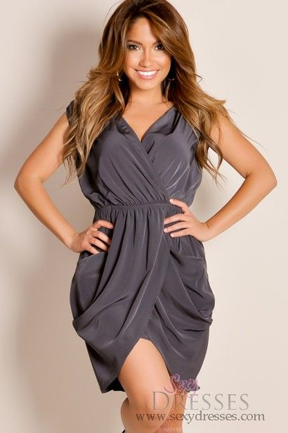 Charcoal Gray Solid Color Scrunched Tunic Drape Cocktail Dress ...