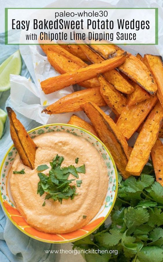 Easy Baked Sweet Potato Wedges with Chipotle Cashew Dip