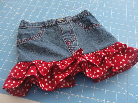 Upcycled jean skirt - we will make ours a bit longer, of course. I remember doing this for my oldest daughter 26 years ago! Cute.