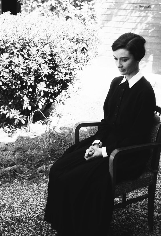 Audrey Hepburn transforms into her character Sister Luke for The Nun's Story, 1958.: