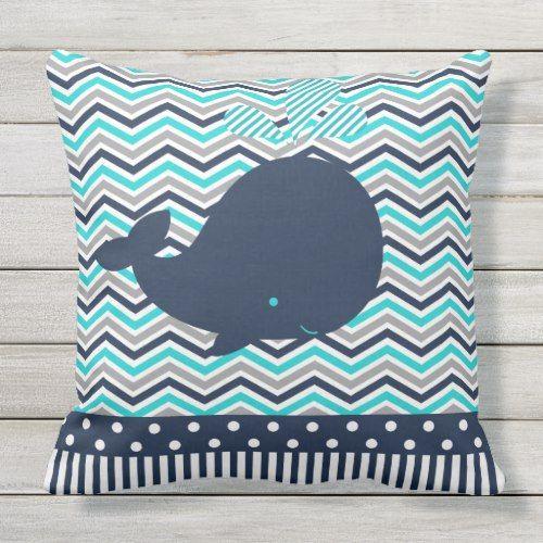 Beach Ocean Nautical Blue Whale Chevron Outdoor Outdoor Pillow Zazzle Com Outdoor Pillows Nautical Blue Pillows